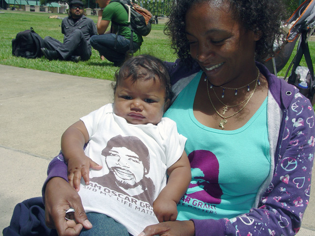 Oscar-Grant-Mehserle-verdict-prep-press-conf-Tracey-Bell-Borden-baby-070610-by-Dave-Id-Indybay1, Oakland officials tried to preempt day of verdict community gathering, Local News & Views