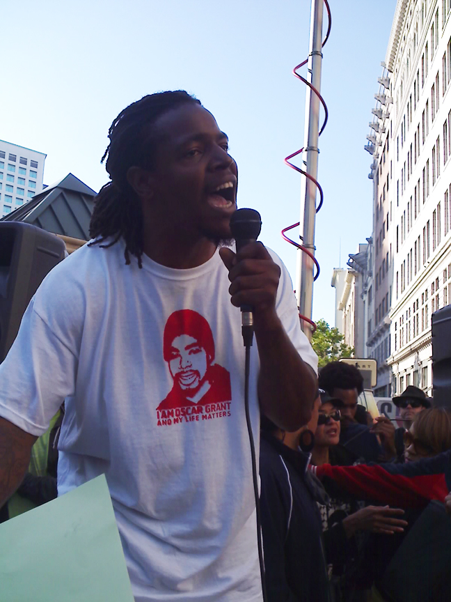 Oscar-Grant-Mehserle-verdict-speaker-14th-Bway-070810-by-Indybay, Oscar Grant was murdered!, Local News & Views