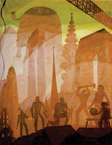 Aaron-Douglas-leading-Harlem-Renaissance-painter-Building-More-Stately-Mansions-1944, Put America back to work!, National News & Views World News & Views