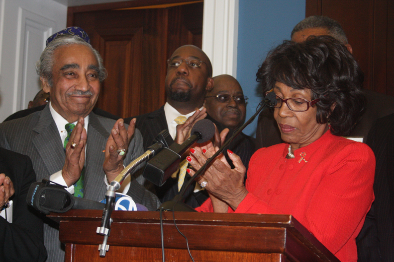 Maxine-Waters-speaks-on-Black-Clergy-Day-re-AIDS-0310-Charles-Rangel-web, Black leaders stand strong for Congresswoman Maxine Waters, champion of economic justice, National News & Views