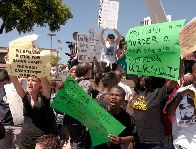 Oscar-Grant-Mehserle-rally-Walnut-Creek-071910-2-by-Revolution, Cops push to 'Free Johannes Mehserle'; Oscar Grant forces push back, protest KTVU, Local News & Views