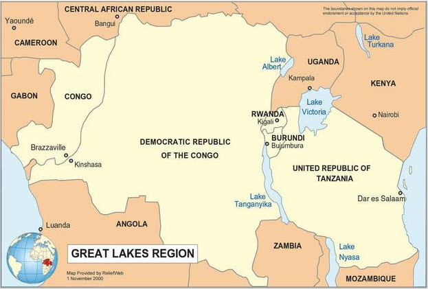 Great-Lakes-Region-of-Africa-map, Kagame sworn in after U.N. report of guilt in Congo genocide, World News & Views