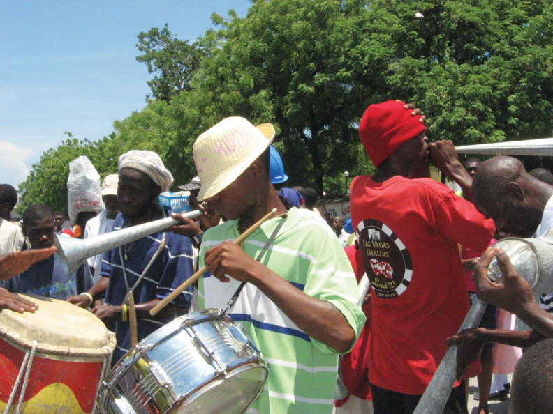 Haiti-peoples-band-plays-at-protest-081210-by-Wanda, Wanda in Haiti: Pain, protest, planning for the future, World News & Views