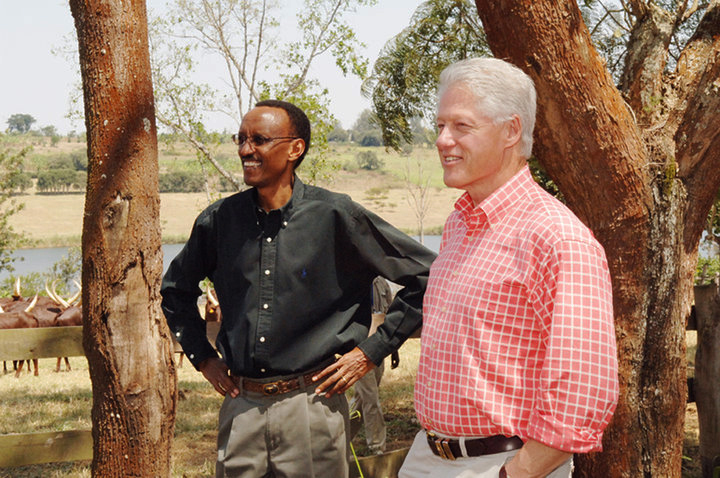Paul Kagame and Bill Clinton at Kagame's farm in Muhazi