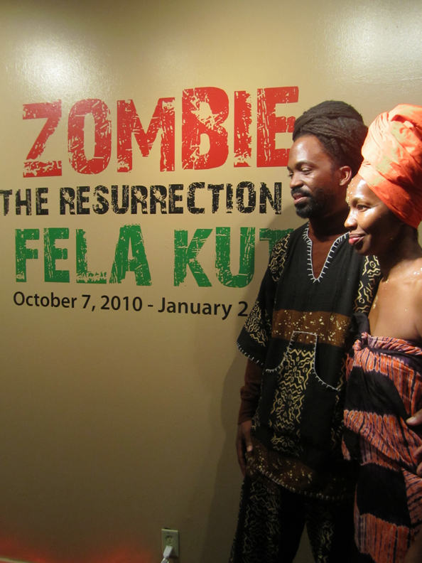 Co-curator-Malik-Seneferu-wife-Karen-at-exhibition-'Zombie-The-Resurrection-of-Fela-Kuti'-opening-100710-by-Larry-Dobie-web, The Hall Of Culture Fall of Vultures: A Fela Resurrection, Culture Currents
