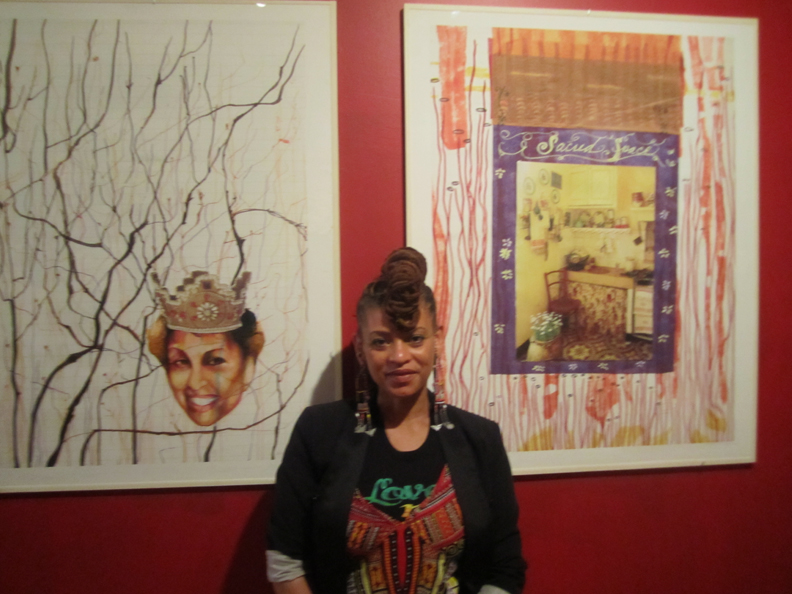 Detroit-artist-Sabrina-Nelson-depicts-sacred-feminine-at-Fela-exhibition-100710-by-Larry-Dobie-web, The Hall Of Culture Fall of Vultures: A Fela Resurrection, Culture Currents