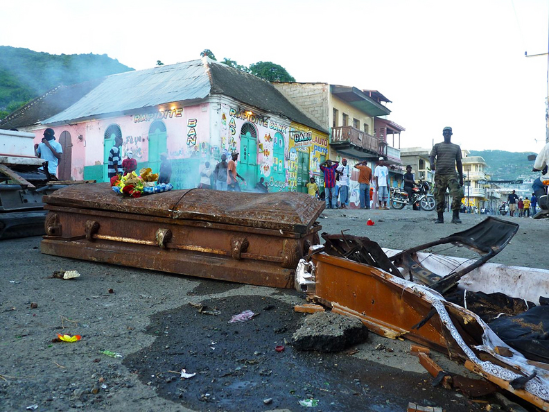 Haiti-Cap-Haitien-protesters-barricade-streets-with-coffins-111810-by-Ansel-Herz2, 'All elements of society are participating': impressions of Cap Haitien's movement against the U.N., World News & Views