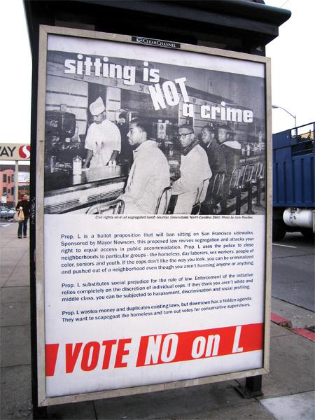 No-on-L-sit-lie-bus-shelter-ad-1010, Artists seize billboards citywide to defeat Prop L, sit/lie, Local News & Views