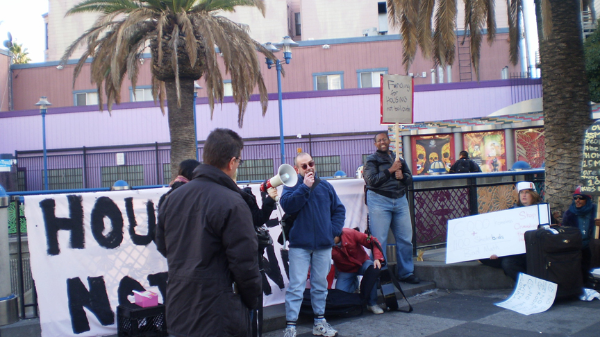 Creative-Housing-Liberation-Housing-Harvest-rally-speakers-16th-Mission-area-112610-by-Carol-Harvey-web, Black Friday 2010 'Housing Harvest' occupation, Local News & Views
