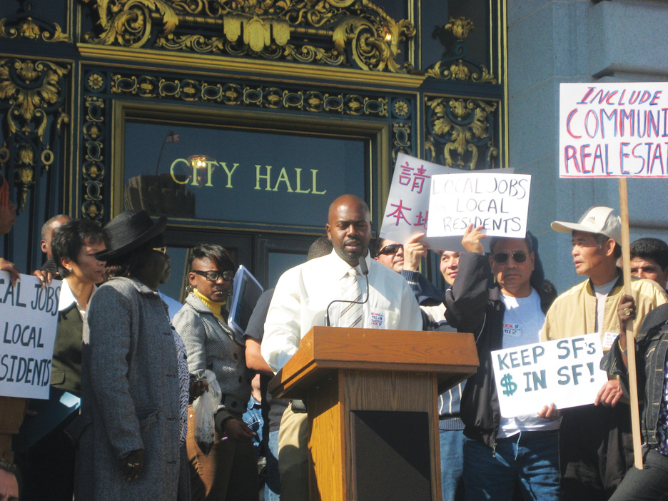 Macio-Lyons-speaks-at-Local-Hire-rally-101910-by-Chinese-for-Affirmative-Action, Avalos mandatory local hiring legislation steamrolls to a vote, Local News & Views