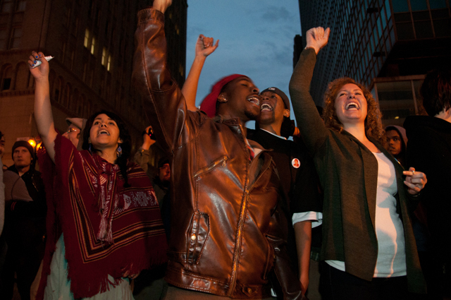 OG-Mehserle-sentencing-youth-of-all-colors-raise-fists-110510-by-Felix-Barrett, When sentencing Mehserle, judge said race is irrelevant to Oscar Grant case, National News & Views