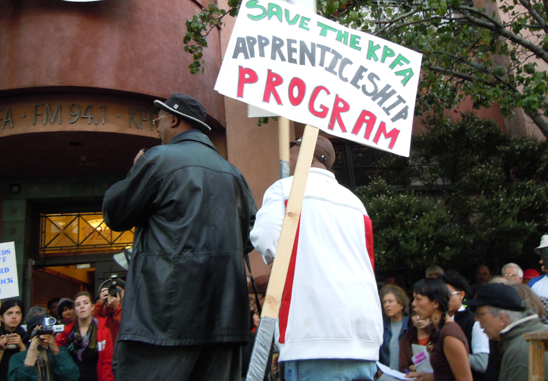 Rally-to-Save-Hard-Knock-Radio-Flashpoints-and-Full-Circle-at-KPFA-Davey-D-speaking-111110-by-Lisa-Dettmer-web, KPFA's working majority gets screwed by CWA job trust, National News & Views