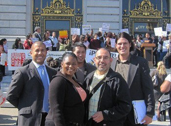 Local-hire-advocates-Jason-Trimiew-REDF-Utuma-Belfrey-Sustainable-Futures-Vincent-Pan-Chinese-for-Affirmative-Action-Antonio-Diaz-PODER-Joshua-Arce-Brightline-at-City-Hall-local-hire-rally-101910-by-Eddie-Ahn, The faces of local hire, Local News & Views