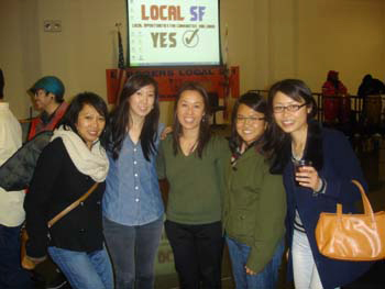Raquel-Redondiez-of-Avalos-office-with-Jenny-Lam-Benita-Benavides-Grace-Lee-Jessica-Wan-of-CAA-at-Local-Hiring-Victory-Party-at-Laborers-Local-261-022311-by-Eddie-Ahn, The faces of local hire, Local News & Views