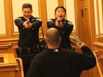 SFPD-role-play-at-Police-Comn-taser-hearing-022311-by-David-Elliott-Lewis, 50,000 volts a zap, Local News & Views