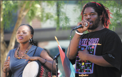Laney-College-BSU-Patience-Adagba-with-djembe-President-L.-Davis-at-mic-rally-for-Black-Studies-staffing-1023071, Help for homecoming prisoners: Second Chance, Last Chance to Succeed at City College, Local News & Views