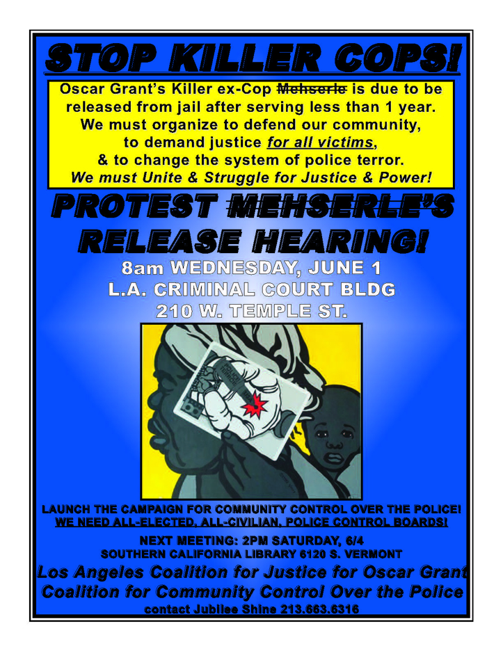 Mehserle-Release-LA-06111, Mehserle shooting of Oscar Grant considered a non-violent offense, Local News & Views