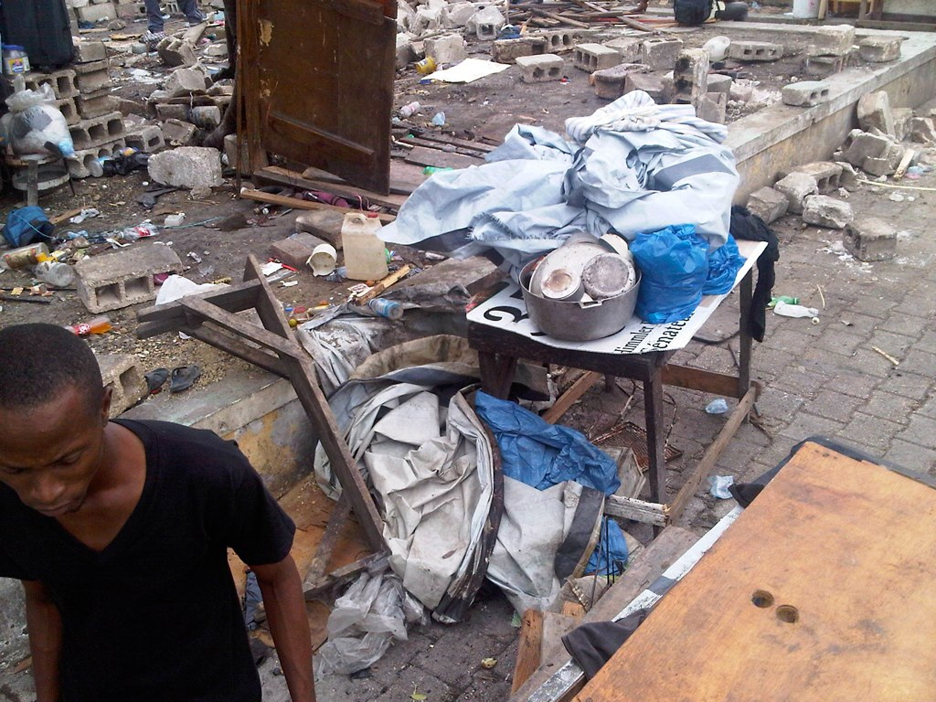 Violent-eviction-from-Port-au-Prince-Delmas-Kafou-Ayopo-camp-by-police-mayor-052311-4-shredded-tents-by-Etant-Dupain, Black Congress members outraged over camp destructions by Haitian police, World News & Views