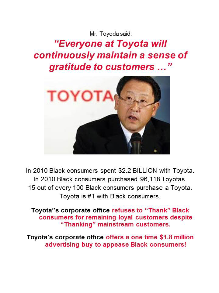 Mr.-Toyoda-060211, Toyota refuses to thank Black consumers, National News & Views World News & Views