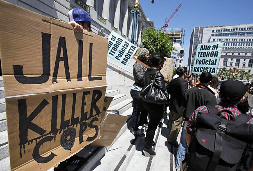 Debray-Carpenter-press-conf-Jail-killer-cops-072811-by-Brant-Ward-Chron, SFPD as occupier, corporate media as its accomplice, Local News & Views