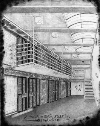 Pelican-Bay-SHU-prisoners-drawing-from-Cal-Prison-Focus2, Isolation, indeterminate sentences used to extract confessions at California supermax prisons, Behind Enemy Lines