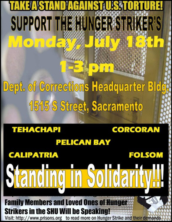Support-Hunger-Strikers-in-Sacto-071811, Letters from Hugo Pinell and other hunger strikers – Rally to support the hunger strikers, Behind Enemy Lines