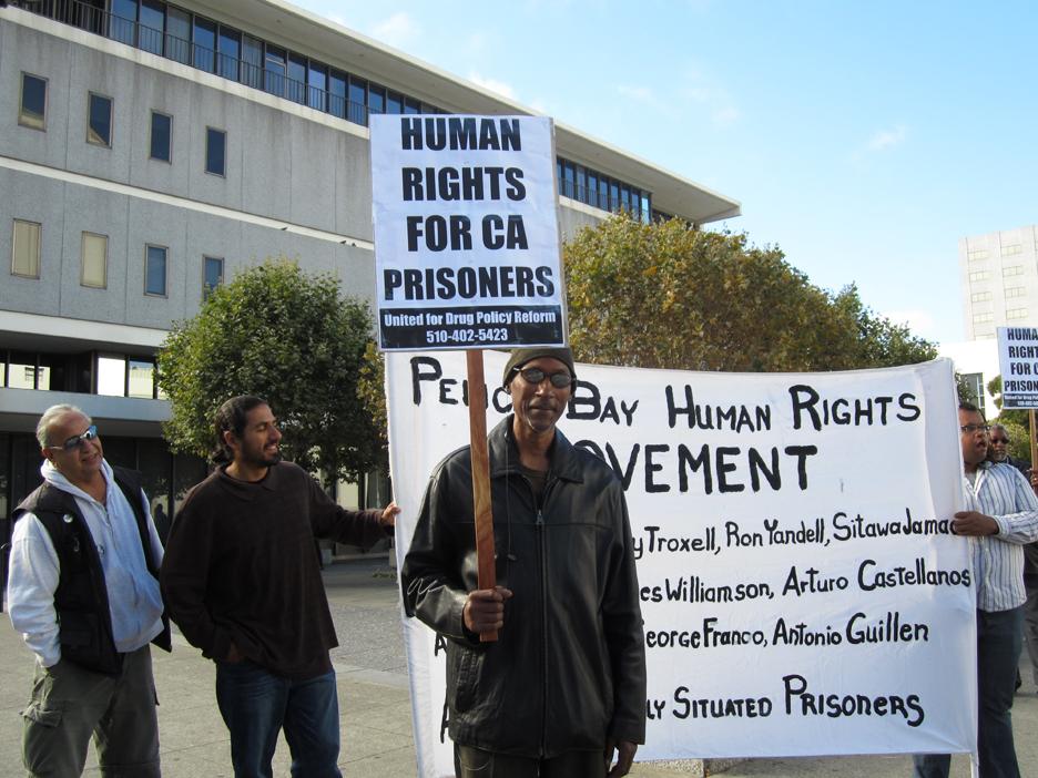 Bato-Talamantez-California-Prison-Focus-Manuel-La-Fontaine-All-of-Us-or-None-Steven-Hopson-United-for-Drug-Policy-Reform-vigil-at-Alameda-Courthouse-081111-by-United-for-Drug-Policy-Reform-web, Hunger strike updates: Legislative hearing on Pelican Bay SHU tomorrow in Sacramento, Behind Enemy Lines