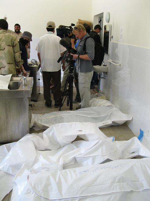 Majer-civilian-bombing-victims-in-Zliten-Hospital-Libya-CNN-cameraman-in-background-by-©2011-Matthew-Ozanon2, NATO'S 'Qana Massacre' at Majer, Libya, World News & Views