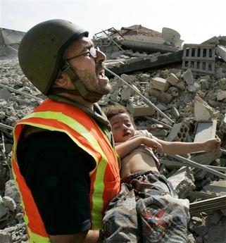 Rescuer-carries-child-Qana-Lebanon-massacre-by-Israel-0418961, NATO'S 'Qana Massacre' at Majer, Libya, World News & Views