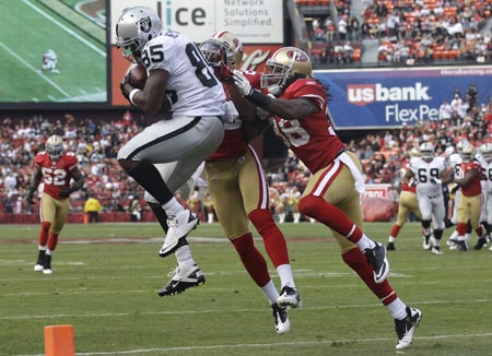 Battle-of-the-Bay-Raiders-wide-receiver-Darrius-Heyward-Bey-makes-one-of-two-catches-082011-by-Tony-Gonzalez1, Funk Season 2011: Violence at Niner vs. Raider game mirrors mayhem on Bay streets, Local News & Views