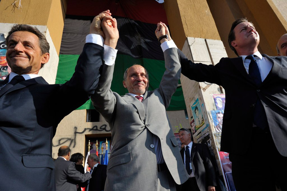 Nicolas-Sarkozy-Mustafa-Abdel-Jalil-David-Cameron-celebrate-Benghazi-091511-by-Philippe-Wojazer, Imperialism will be buried in Africa, World News & Views