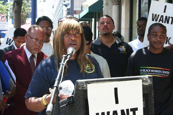 Unemployed-journeywoman-sheet-metal-worker-Madelyn-Broadus-speaking-apprentice-iron-worker-Leray-Williams-right-rally-for-SB-292-090811-by-LA-Fed-Labor, Black workers leading the charge, National News & Views