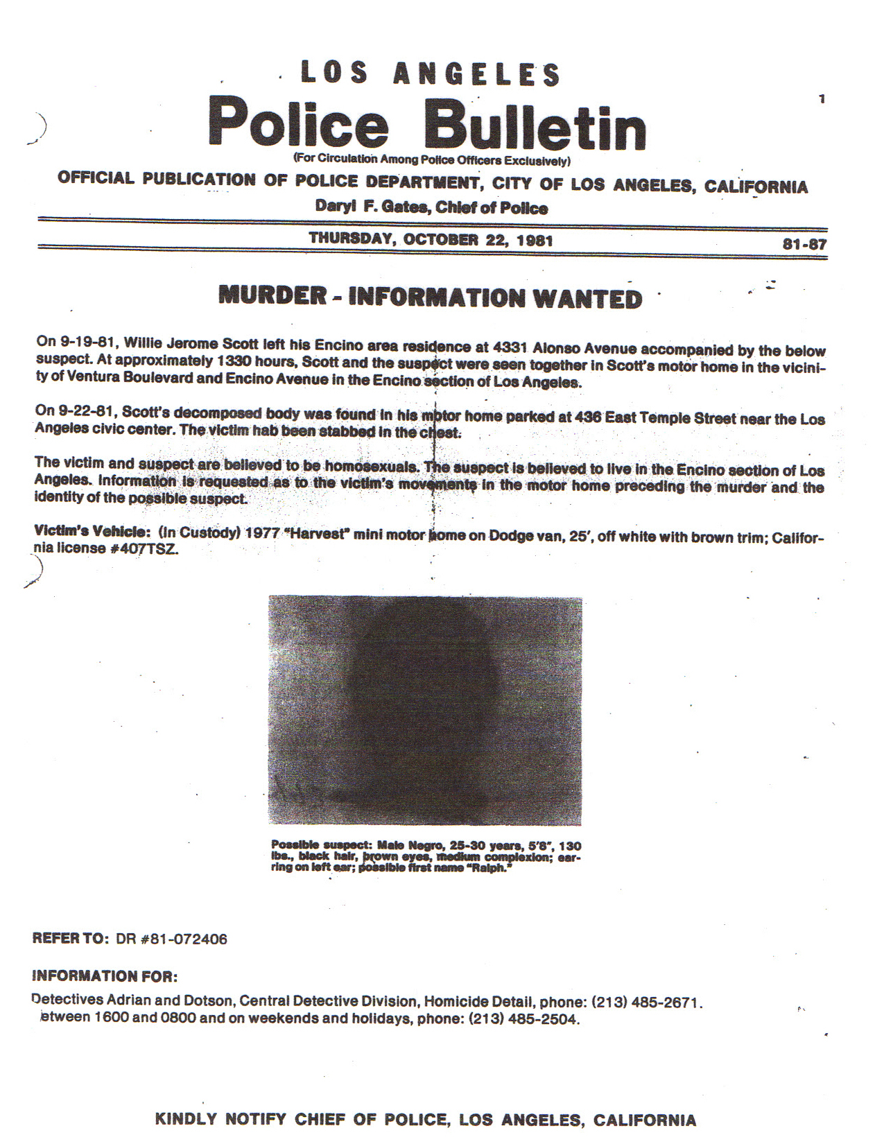 LAPD-1981-wanted-poster-seeking-suspect-in-murder-of-Patricia-Wrights-husband-Jerome-Scott, Three Strikes holds dying innocent woman behind bars: Justice for Patricia Wright and her family!, Behind Enemy Lines
