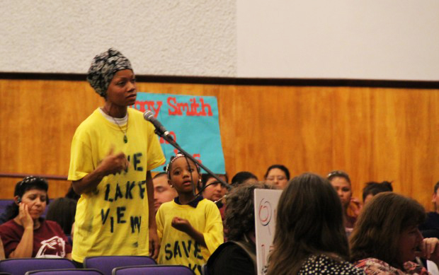 Lakeview-parent-Daaimah-Waqia-opposes-school-closures-at-OUSD-meeting-at-Castlemont-High-101211-by-Yirmeyah-Beckles, Saving Oakland schools: Fighting for the future of Oakland, Culture Currents