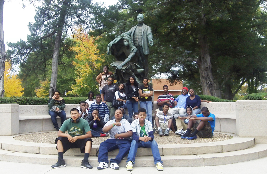 Carl-Rays-HBCU-tour-Booker-T.-Washington-statue-Tuskegee-Univ-1011, Carl Ray's HBCU tours motivate students to succeed, Culture Currents