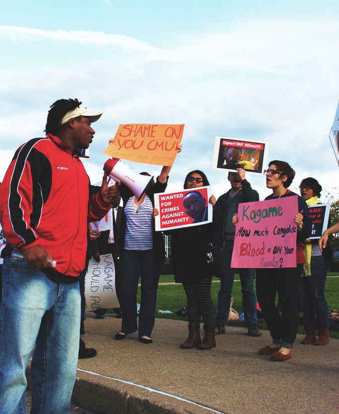 Claude-Gatebuke-students-protest-Kagame-at-Carnegie-Mellon-091611-by-Emily-Russell1, 'Good' survivors of genocide and 'bad' survivors in the hands of Rwanda's dictator and his agents, World News & Views