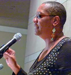 Monica-Moorehead-speaks-Mumia-30th-anniv.-imprisonment-rally-Nat'l-Constitution-Center-Philly-120911-by-Joseph-Piette-Workers-World, Mumia's first week of freedom … from Death Row, National News & Views