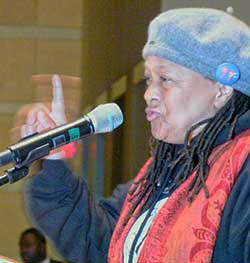 Pam-Africa-speaks-Mumia-30th-anniv.-imprisonment-rally-Nat'l-Constitution-Center-Philly-120911-by-Joseph-Piette-Workers-World, Mumia's first week of freedom … from Death Row, National News & Views