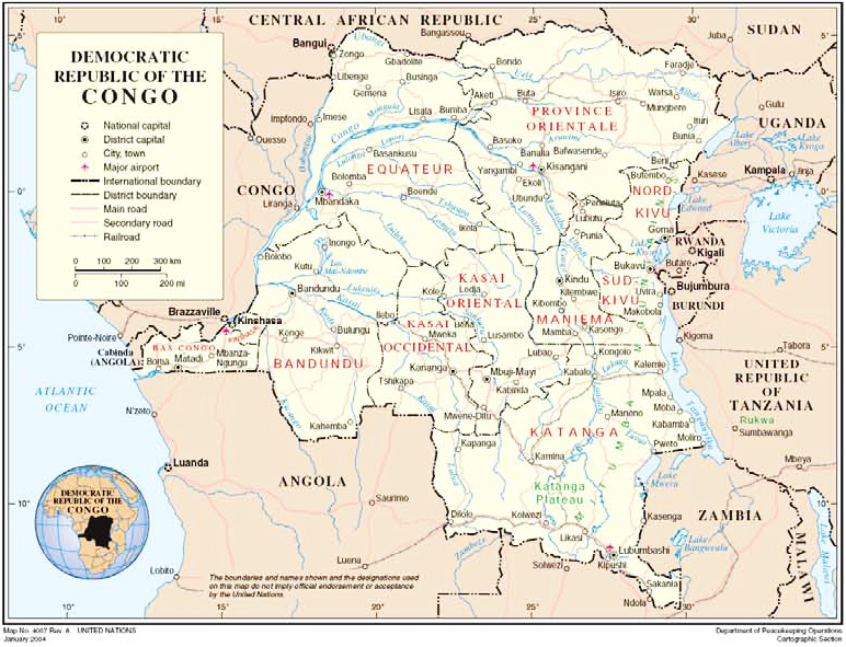 Congo-map-UN-01041, A young man set himself on fire in Boma, Democratic Republic of the Congo, and becomes a martyr of the Congolese Revolution, World News & Views