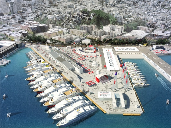 America's-Cup-Village-Piers-27-29-sketch-courtesy-AECOM-and-America's-Cup-Event-Authority, America's Cup clouded by local hiring, financing concerns, Local News & Views