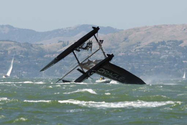 Oracle-Racing-capsizes-while-training-SF-061511-by-Examiner, America's Cup clouded by local hiring, financing concerns, Local News & Views