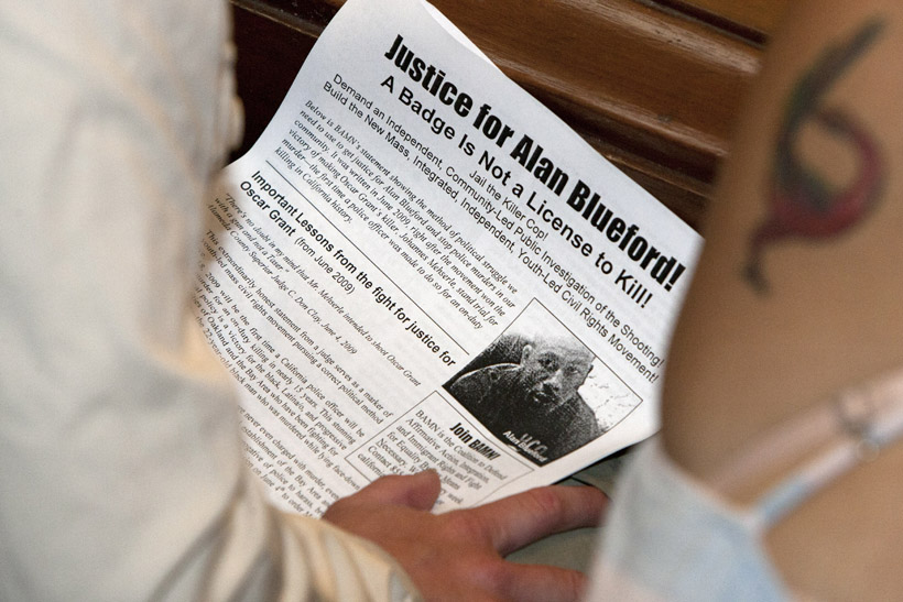 BAMN-Justice-for-Alan-Blueford-flier-at-Oakland-City-Council-051512-by-Malaika, Protesting police murder of Alan Blueford and war on Afrikans, Local News & Views
