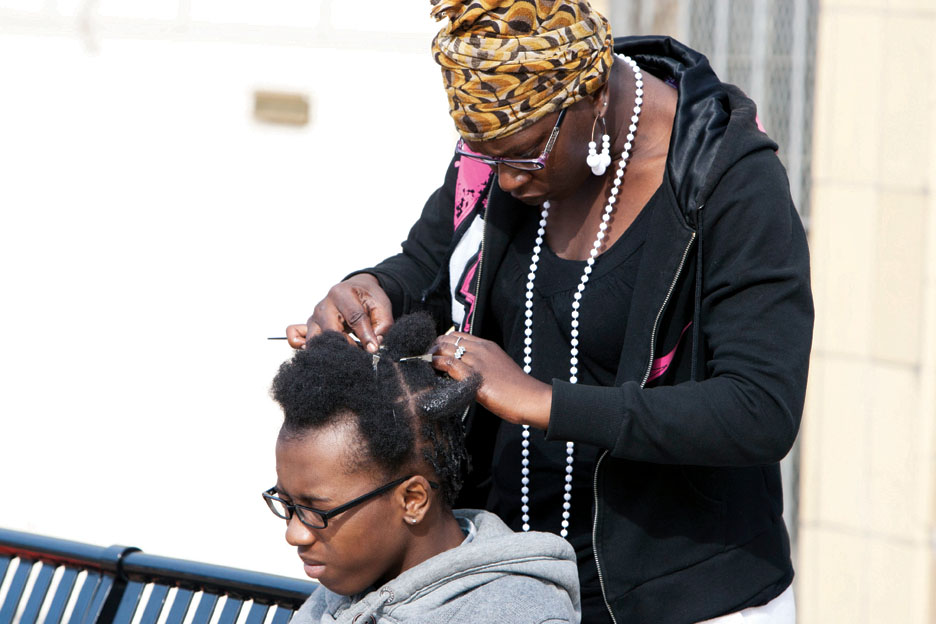 Free-Fly-Benzo-press-conf-rally-Mendell-Plaza-Salahaquyya's-son-gets-hair-done-by-Sis.-Paige-041812-by-Malaika, Fly Benzo is free, so why is Mendell Plaza a no Fly zone?, Local News & Views
