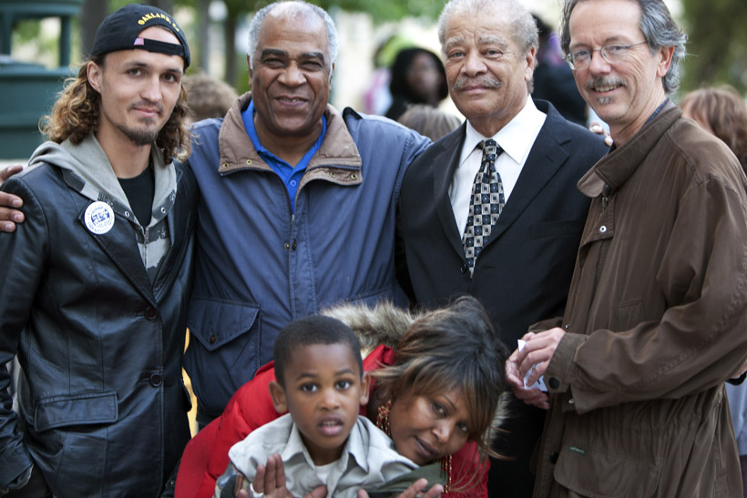 Pierre-Labossiere-Walter-Riley-Aja-Minor-of-BAJI-support-Alan-Blueford-fam-Haitian-Family-Reunification-Parole-Program-at-Oakland-City-Council-051512-by-Malaika, Protesting police murder of Alan Blueford and war on Afrikans, Local News & Views