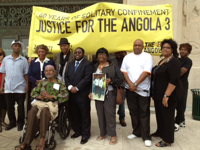 Angola-3-Amnesty-Intl-press-conf-petition-delivery-to-Gov.-Bobby-Jindal-Louisiana-capitol-041712-by-A3-Coalition, Solitary confinement on trial: an interview with law professor Angela A. Allen-Bell, Behind Enemy Lines