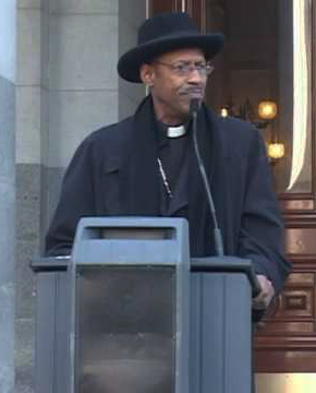Archbishop-Franzo-King-speaks-at-capitol-Sacto, Wells Fargo threatens foreclosure leader Archbishop King's home – auction postponed again to July 20, Local News & Views