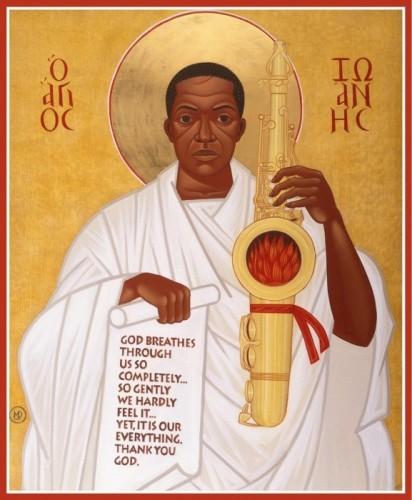 God-breathes-thru-the-holy-horn-of-St.-John-Coltrane-detail-from-icon-at-St.-John-Coltrane-Church-by-Mark-Dukes, Wells Fargo threatens foreclosure leader Archbishop King's home – auction postponed again to July 20, Local News & Views