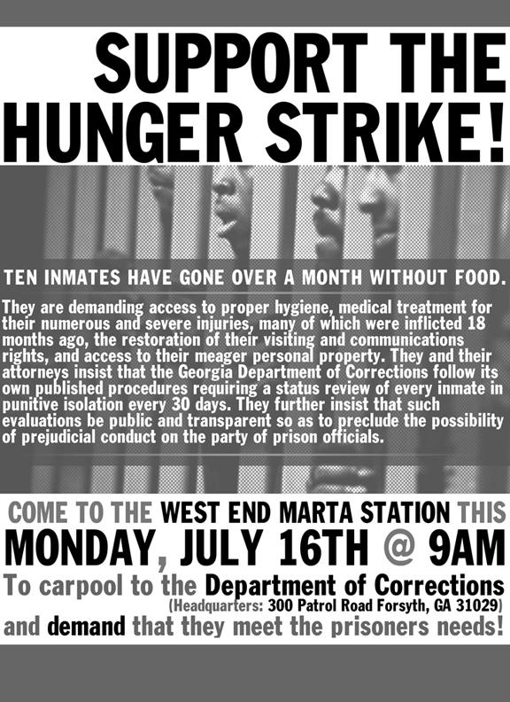 Georgia-hunger-strike-flier-0712, Georgia hunger strike enters fifth week, Behind Enemy Lines