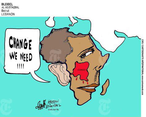 Obama-Congo-map-cartoon-Change-we-need-run-110308-in-NYT, U.S. cuts aid to Rwanda for destabilizing Congo, World News & Views