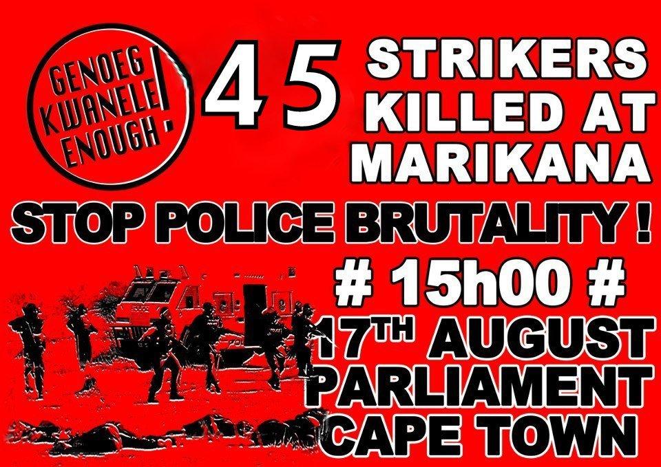 45-Strikers-Killed-at-Marikana-081712-poster, Marikana mine workers massacred by South African police, World News & Views